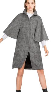 Zara Coat Plaid Check Wool Cape