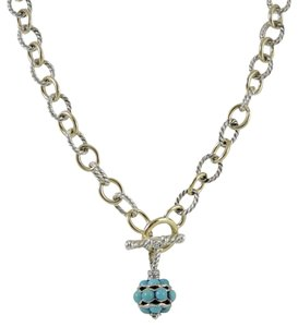 David Yurman David Yurman Silver 18K Oval Link Turquoise Charm Necklace