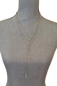 Lucky Brand Lucky brand silver double necklace w/studded + plain cross