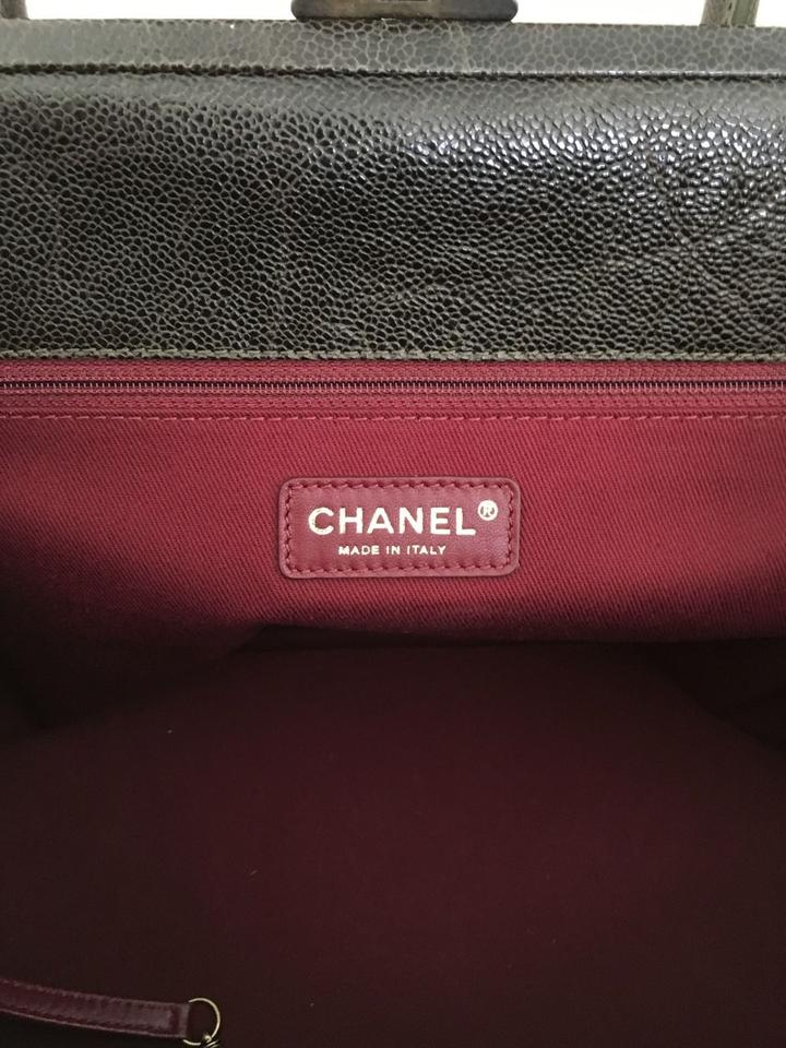 9bc85d01b756a5 Chanel Large Shopping >30cm Dark Grey/ Olive Caviar Distresses Leather  Shoulder Bag - Tradesy