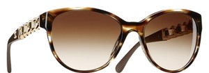 Chanel 5215 Q CC Logo Brown Tortoise Gold Chain Leather Cat Eye Butterfly