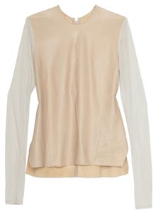 Helmut Lang Leather Top Beige