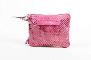 Nina Ricci Magenta Snakeskin Embossed Pouch Convertible Eyelet Tote in Pink