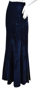ALAA Alaia Navy Velour Thick Seamed Maxi Skirt Blue