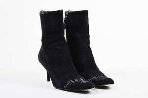 Chanel White Suede Cc Black Boots
