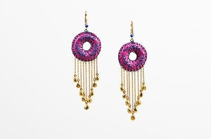 Lee Angel Lee Angel Purple Blue Leather Gold Tone Metal Embroidered Circle Dangle Earrings