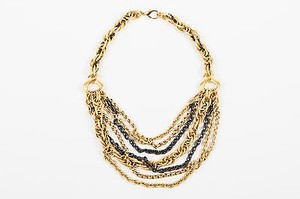 Jose & Maria Barrera Jose Maria Barrera Gold Tone Black Woven Multi Chain Link Strap Necklace