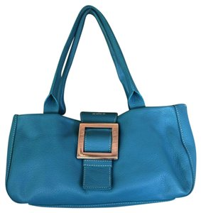 Adrienne Vittadini Leather Rextures Satchel in Teal