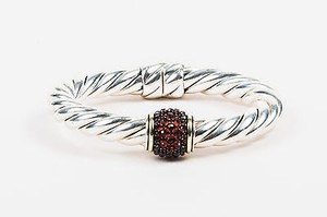 David Yurman David Yurman Sterling Silver 18k Gold Garnet Osetra Bangle