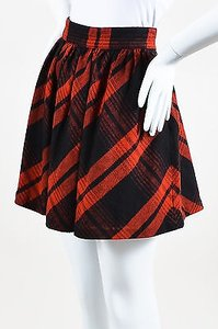 Joie Black Plaid Pattern Skirt Red