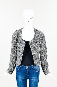 Chanel Vintage Navy Cream Tweed Double Breasted Cropped Blue Jacket