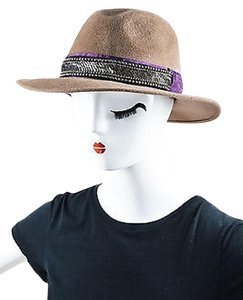 Etro Etro Taupe Purple Black Rabbit Felt Sequin Bead Ribbon Embellished Hat 57