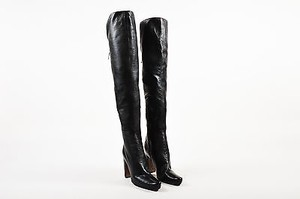 ALAÏA Alaia Leather Lace Up Over The Knee Heel Black Boots