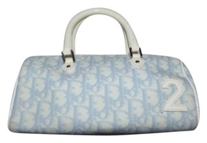 Dior Logo Accents Satchel in Trotter style Embroidered Canvas in light blues/white Patent Leather