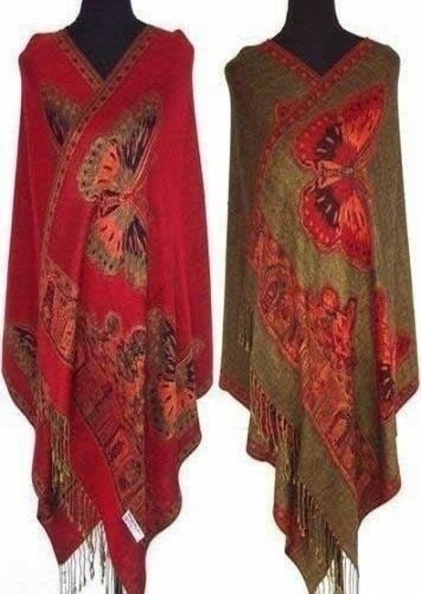 Item - Red/Olive Oversized Pashmina Butterfly Shawl Wrap Scarf Free Shipping