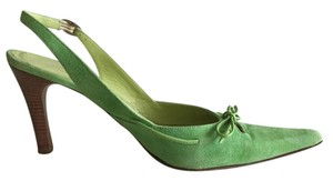 Casual Corner Vintage Slingback Leather Made In Italy Pointy Toes Light Green Pumps