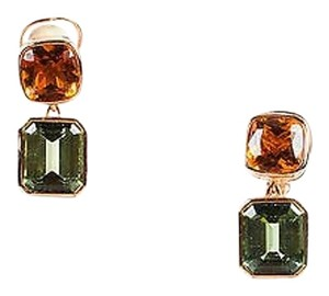 Custom Sidney Garber 18k Rose Gold Green Amethyst Citrine Clip On Earrings