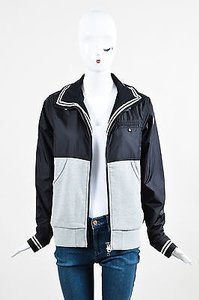 Moncler Black Knit Nylon Gray Jacket