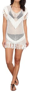 Melissa Odabash MELISSA ODABASH WHITE RIRI OPEN KNIT CROCHET FRINGE BEACH COVER UP DRESS M