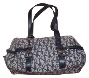 Dior Logo Accents Great Everyday Mint Vintage Bold Chrome Accents Print Satchel in Trotter style Embroidered Canvas in black & greys/black Leather