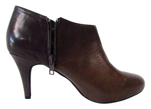 Me Too Leather Ankle Bootie Heels Brown Boots