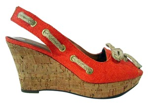 Franco Sarto Cork Wedge Slingbacks Laced Orange Wedges