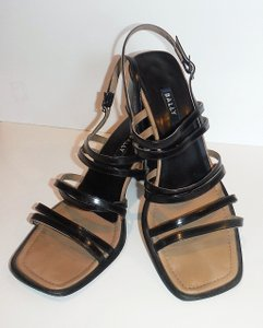 Bally Strappy Leather Chunky Heel Black Sandals