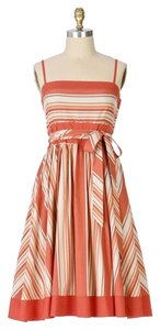 Viola short dress Coral Anthropologie A-line Stripes on Tradesy
