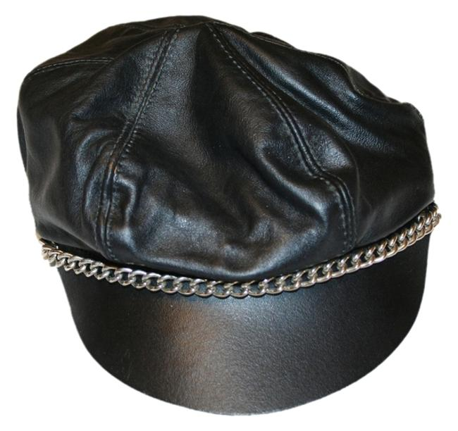 Item - Black and Silver Leather Biker Hat