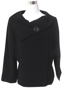 Tahari Cape Suit High Collar Black Jacket