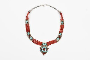 Turquoise Coral Pendant Beaded Choker Necklace