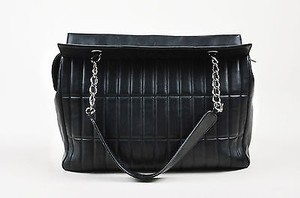 Chanel Leather Vertical Quadro Quilted Silver Tone Chain Shoulder Bag
