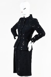 Chanel Chanel Black Cotton Wool Tweed Sequined Blazer Skirt Suit Set