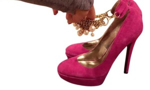 bebe Suede High Heel Ankle Pearl pink Pumps