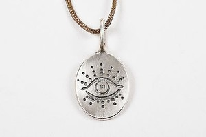 Heather B. Moore Sterling Silver Engraved Evil Eye Oval Charm Pendant