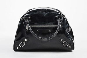 Balenciaga Patent Satchel in Black