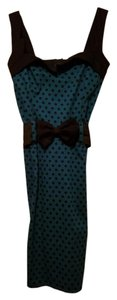 Switchblade Stilletto short dress Teal with Black Polka Dots Dot Pencil Vintage Date Night on Tradesy