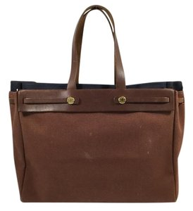 Herms Canvas Tote in Brown