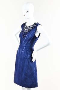 Kay Unger Navy Marble Patterned Crochet Neck Cocktail Dress