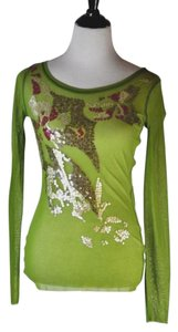 Fuzzi Sequin Long Sleeve Size L Top Green Multi
