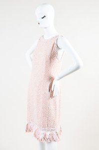 Chanel short dress Pink 07p Peach White Tweed Cross Strap Strip Ruffled Shift on Tradesy