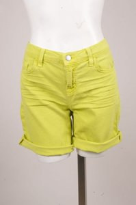 J Brand Lime Whiskered Cuffed Cut Off Shorts Green
