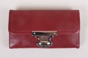 Marc Jacobs Marc Jacobs Red Leather Silver Tone Flap Wallet
