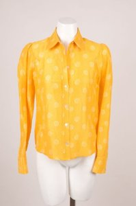 Tocca Yellowwhite Dot Print Shermy Shirt Top