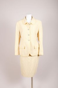 Chanel Chanel Boutique Yellow White Wool Blend Boucle Jacket Skirt Suit Set