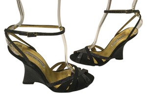 Charles David Embossed Some Black leather and Satin open toe Wedges