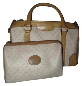 Gucci Doctor's Satchel in camel leather and small G logo print on ivory coated canvas