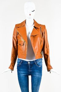 Chanel 01p Leather Asymmetrical Zip Long Sleeve Moto Motorcycle Jacket