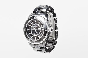 Chanel Chanel Black Ceramic Steel Diamond Accent J12 Automatic Watch