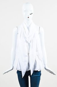 Givenchy Silk V Neck Scarf Tie Drape Top White